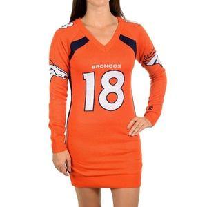 Denver Broncos Football Manning #18 Sweater Dress